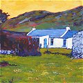 detail of painting: Irish Cottage seen from sheep field