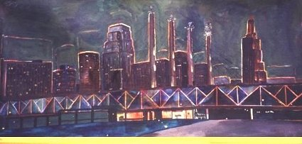 Painting of Kansas City at Night