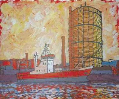 Painting of The Gasometer in Dublin