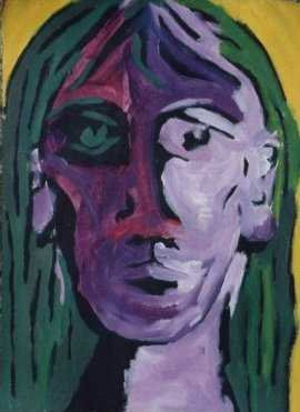 A Painting of a girl, a purple girl with green hair