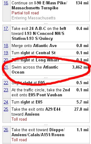 Directions to swim the atlantic