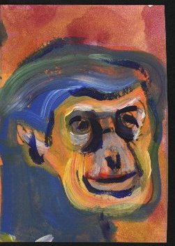 painting of a chimp