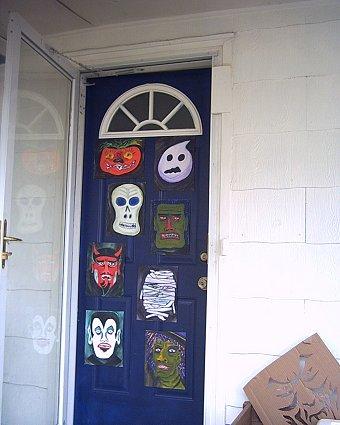 halloween paintings on door